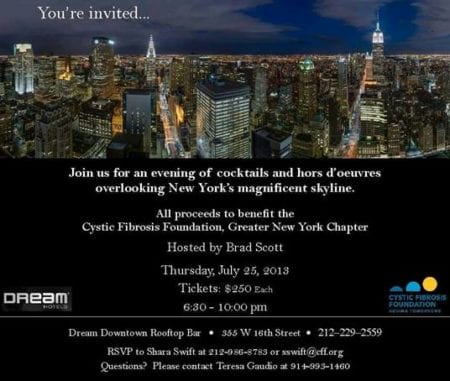 NYC Skyline Cocktail Party at Dream Downtown Rooftop Bar to benefit The Cystic Fibrosis Foundation